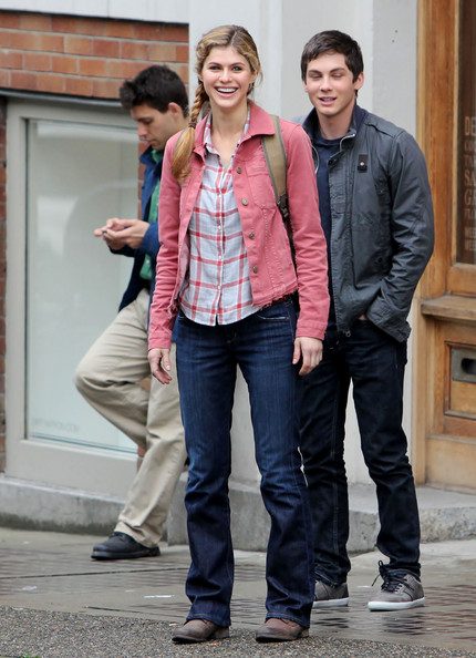 alexandra daddario pictures stars on the set of percy