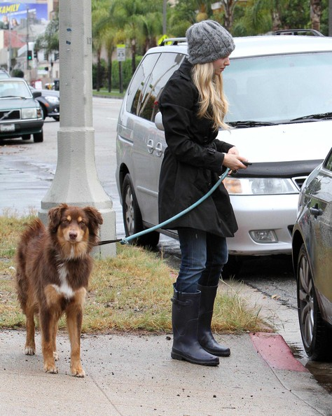 Amanda Seyfried Actress Amanda Seyfried taking her dog to The Dog House to get groomed on a rainy day in Los Angeles, CA.