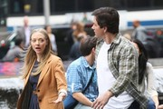 Actors Amanda Seyfried and Mark Wahlberg are seen filming scenes for 'Ted 2' in New York City, New York on October 7, 2014. Mark argued with Ted in one scene and shared a kiss with Amanda in another!