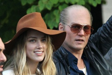 Amber Heard and Johnny Depp Cozy Up on Set