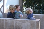 'Parks And Recreation' actress Amy Poehler takes her sons Archie and Abel to a birthday party in Beverly Hills, California on January 19, 2013.