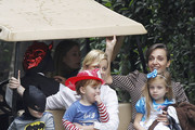 'Parks And Recreation' actress Amy Poehler takes her sons Archie and Abel to a costume party in Beverly Hills, California on October 20, 2012. Archie was dressed up as Batman and Abel was a fireman