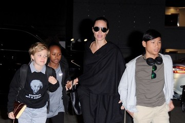 Angelina Jolie Angelina Jolie & Kids Departing on a Flight at LAX