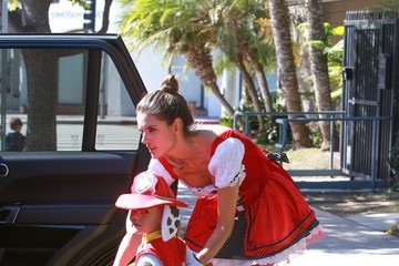 Anja Ambrosio Mazur Alessandra Ambrosio Out With Her Son in Halloween Costumes