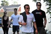 Former Governor Arnold Schwarzenegger and his kids Patrick and Christina out riding bikes before stopping at the Brentwood Country Mart in Brentwood, CA.
