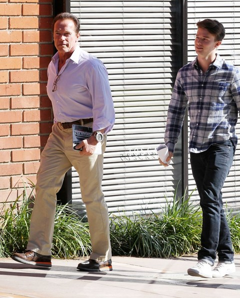 Arnold Schwarzenegger & Son Patrick Out For Lunch In Brentwood