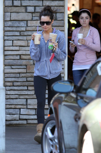 Ashley Tisdale Actress Ashley Tisdale getting a couple of iced coffee drinks at the Coffee Bean & Tea Leaf before returning home in Toluca Lake, CA.