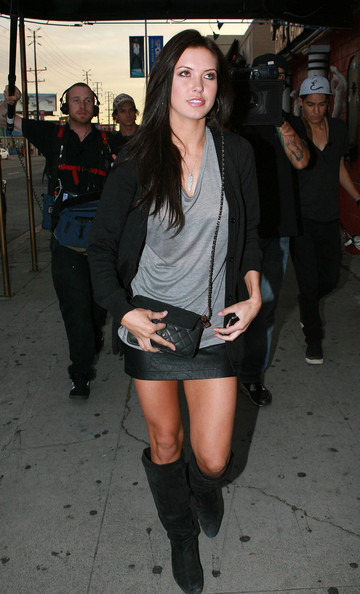 "Audrina Patridge Shooting ""The Hills"" At A Tattoo Shop"