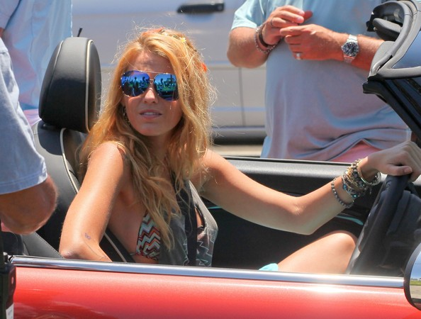 "Actress Blake Lively drives a Mini Cooper on the set of ""The Savages"" in Los Angeles."