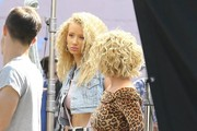 "Pop star Britney Spears continues to film scenes for her 80's themed music video in Studio City, California on April 10, 2015. Australian rapper Iggy Azalea joined Britney on set for their ""Pretty Girls"" duet, which is slated for a May 5 release."