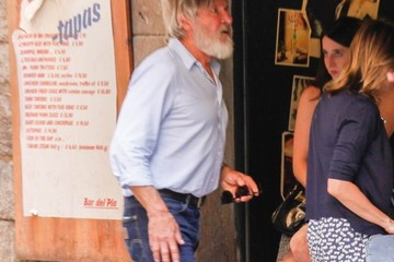 Calista Flockhart Harrison Ford and Calista Flockhart Vacation in Barcelona