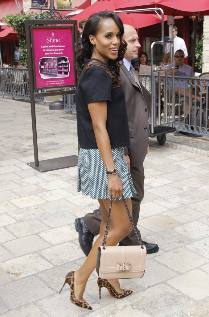 Celebrities talk with 'Extra' at The Grove. Pictured: Kerry Washington