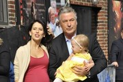 Celebrities making their last appearance on the 'Late Show With David Letterman' in New York City, New York on May 20, 2015. Today is the last show for Letterman after 33 years on the air.<br /> <br /> Pictured: Alec Baldwin, Carmen Baldwin, Hilaria Thomas