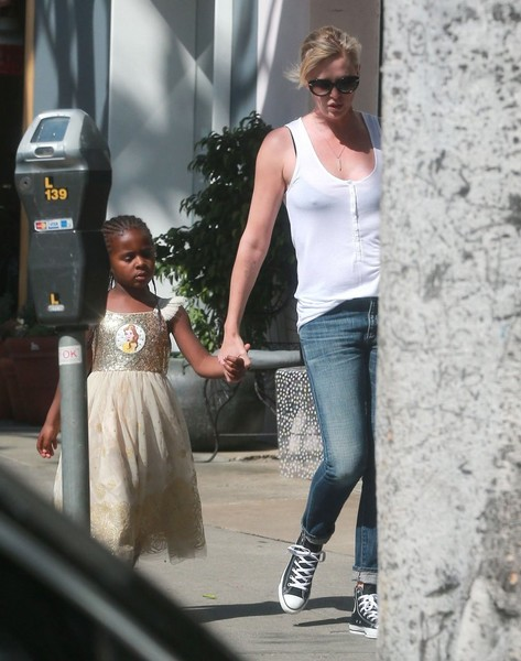 Charlize Theron Takes Her Kids Out for Ice Cream []