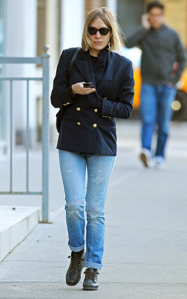 Actress Chloe Sevigny seen chatting on her phone as she walks through the East Village in New York City, NY.