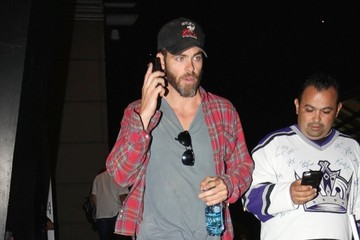 Chris Pine Celebrities Go To LA Kings Game
