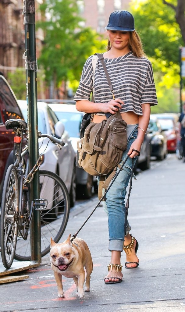 Chrissy Teigen Out Walking Her Dog In New York