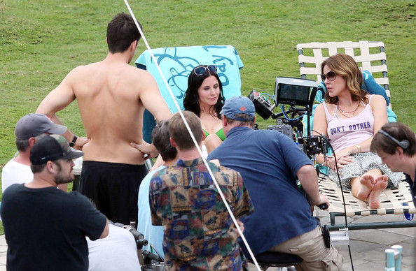 Christa Miller Actress Courteney Cox shows off her bikini body on the set of ...