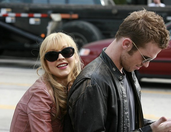 Singer Christina Aguilera and actor Cam Gigandet film a scene for the new movie 'Burlesque' in West Hollywood, CA.