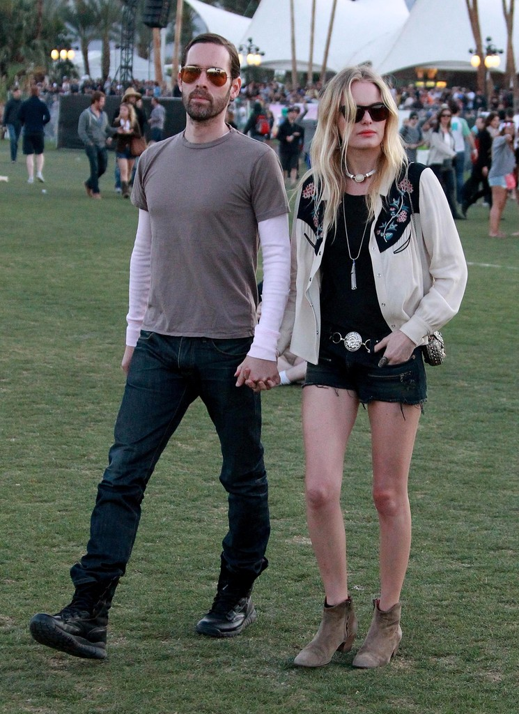 "Celebrities gallivant around the grass areas of the ""Coachella Music Festival? on day 2 of the massive event located in the Coachella dessert of California on April 14, 2012. Pictured: Michael Polish, Kate Bosworth"