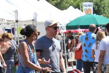 Craig Sykes Marsha Thomason and Her Family Visit the Farmer's Market in Studio City