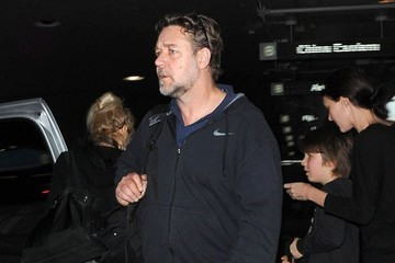 Danielle Spencer Russell Crowe and Family at LAX