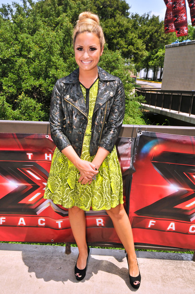 Demi Lovato 'X-Factor' judges, Britney Spears, Demi Lovato, LA Reid and Simon Cowell arriving for the first day of auditions at the Erwin Center in Austin, Texas on May 24, 2012.
