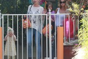 Denise Richards & Rebecca Gayheart Pick Their Daughters Up From School