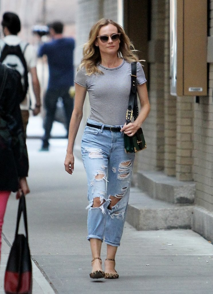 Diane Kruger in Ripped Denim - Out in New York City 08/05/2016