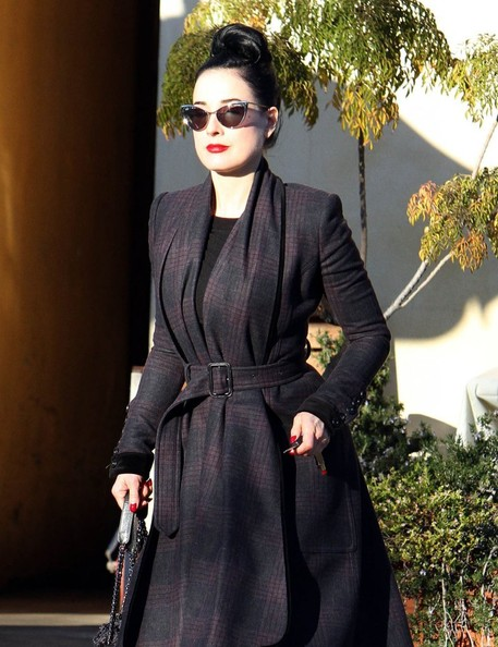 Model Dita Von Teese and a friend out for lunch at Spark Woodfire Grill in Studio City, California on January 12, 2013.
