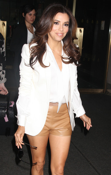 """Desperate Housewives"" star Eva Longoria seen leaving NBC Studios wearing barely-there leather shorts on April 19, 2012 in New York City, NY."