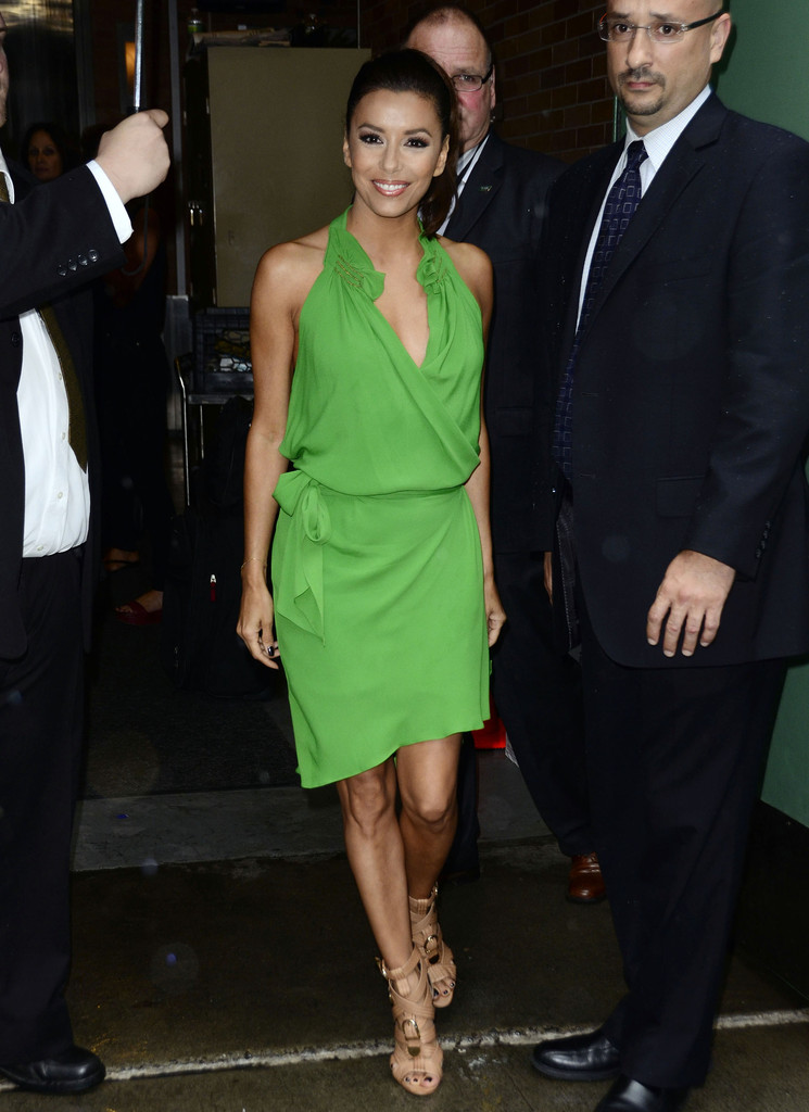 """Desperate Housewives"" actress Eva Longoria made her exit from a studio in New York City, New York on July 20, 2012 wearing a stunning green dress."