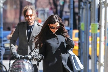 Famke Janssen Famke Janssen & Cole Frates Out Walking Their Dog