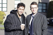 ": the cast of ""Fringe"" headed to and from set in Vancouver, British Columbia, Canada on February 7, 2012. Pictured here is Seth Gabel with Maximino Arciniega"