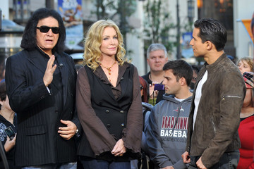 Mario Lopez Gene Simmons And Shannon Tweed At The Grove To Do An Interview On EXTRA