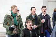 Stars film scenes for the hit TV show 'Glee' at  Washington Square Park in New York City, New York on March 14, 2014.