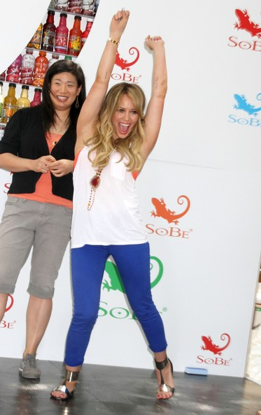 SoBe celebrities Hilary Duff and Jessica Szohr 'Try Everything' from Pitching Apples to Bowling with Melons at a promotional event in New York City.