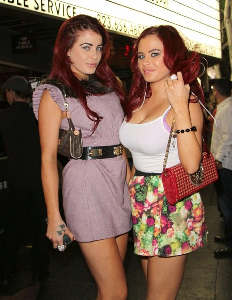 Playboy twins Melissa and Carla Howe take their friend Suelyn Medeiros out for her birthday at Playhouse on May 16, 2013 in Hollywood, California.