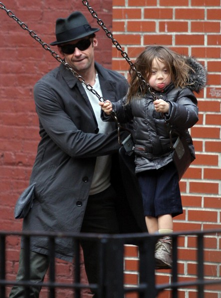 Hugh Jackman Family At The Park In New York City