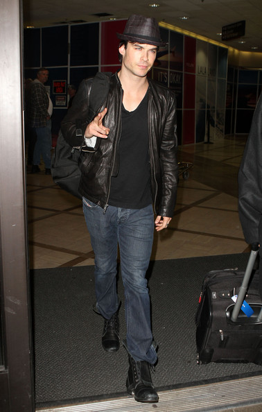 Ian Somerhalder Actor Ian Somerhalder arriving on a flight at LAX airport in Los Angeles, CA.