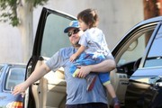 """""""School of Rock"""" star Jack Black takes his son Samuel to school on April 26, 2013 in West Hollywood, California."""