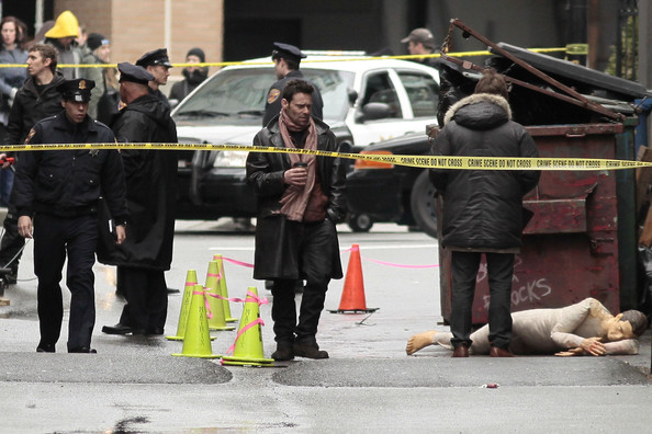 "British actor James Callis films a scene for ""17th Precinct"" in Vancouver."