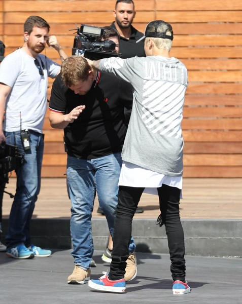 Justin Bieber Films for 'The Late Late Show with James Corden'