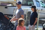 'Red Machine' actor James Marsden takes his kids Jack and Mary to the farmer's market in Studio City, California on November 3, 2013.