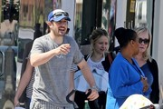'American Pie' actor Jason Biggs takes his wife Jenny and new baby son Sid out for lunch at Joan's On Third in Los Angeles, California on March 31, 2014.