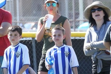 Jayden Federline Britney Spears and Kevin Federline at a Soccer Game