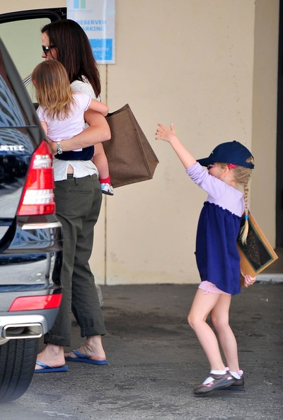 Actress Jennifer Garner and daughter Seraphina picking up her other daughter Violet from school in Santa Monica, CA.