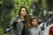 Actress Jessica Alba takes her daughter Honor Warren to a party in Beverly Hills, California on October 30, 2016. Honor held tightly onto her mom's arm while they walked together to the party.