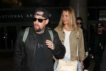 Joel Madden Cameron Diaz & Benji Madden Land at LAX Airport