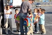 Jon Gosselin picks up his kids at the bus stop in Reading, PA. The kids pet a dog, at home Jon shows his big belly, a mystery cute blond also comes by..... ****Mandatory credit: Brian Flannery/FlynetPictures.com****